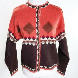 Benetton Sweater argyle Nordic pattern Made Italy